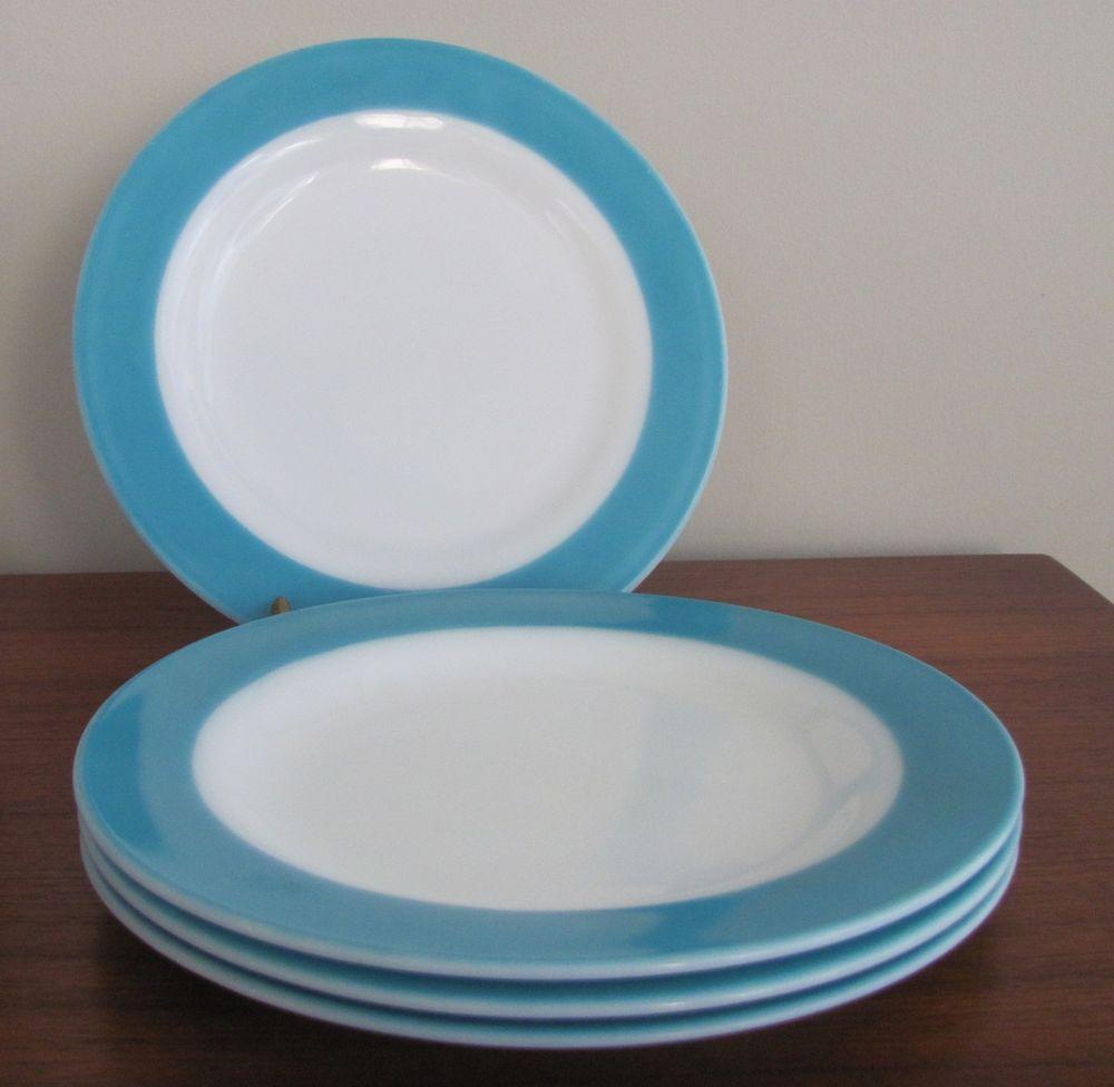 Vtg Set 4 Pyrex Aqua Band 10 Dinner Plates Turquoise Blue Opal Milk Glass Plates Aqua Band Blue Opal