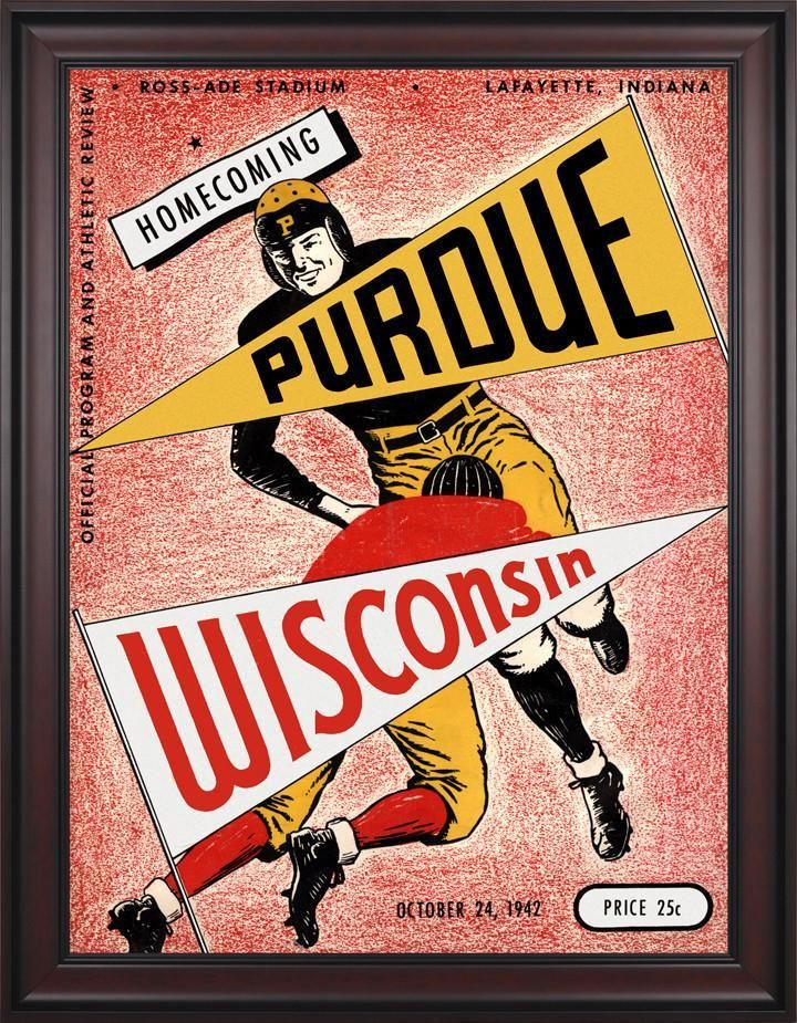 1942 Purdue Boilermakers vs Wisconsin Badgers 30 x 40