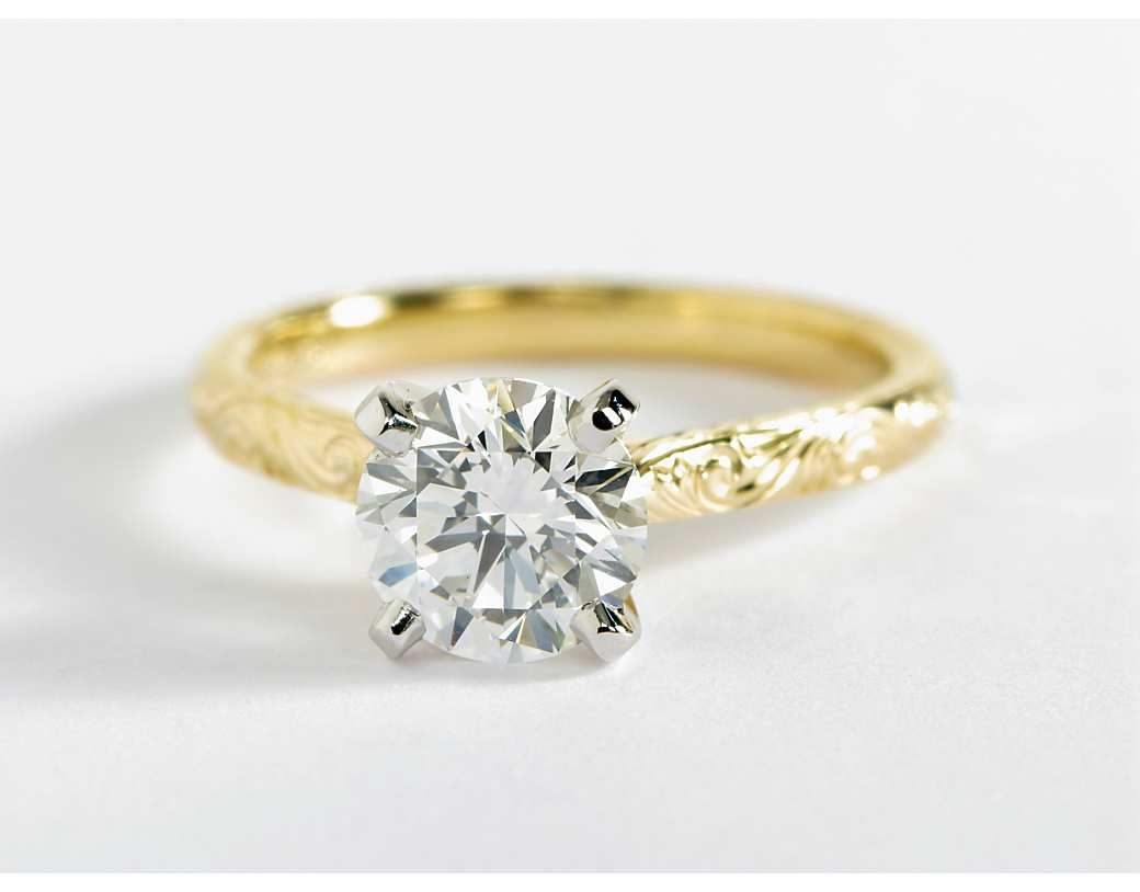 round ladies engagement yg diamond rings dia c ring solitaire gold cut itm me catch