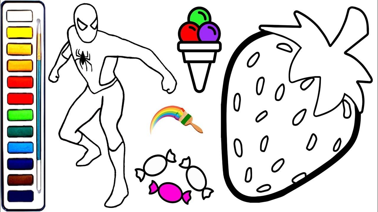 Spiderman Rainbow Ice Cream Coloring Book for Kids | Spiderman and ...