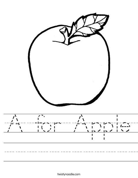 A for Apple Worksheet - Twisty Noodle (With images ...