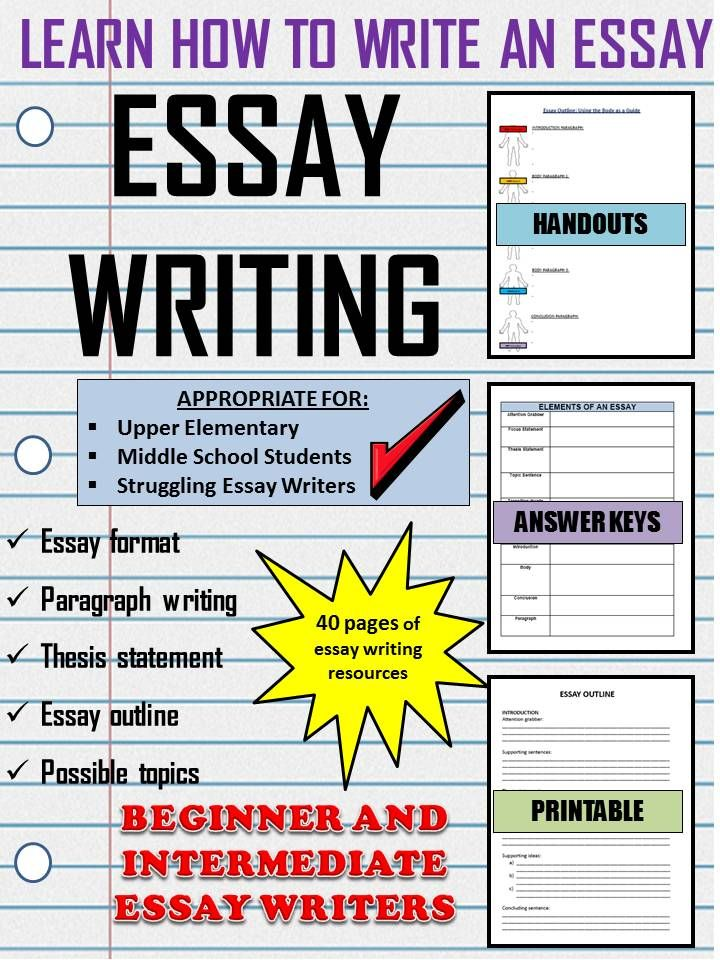 essay writing for beginners notes organizers examples  handouts  this resource includes everything you need to teach your students how to  write an essay using several different analogies in this unit as  reminders
