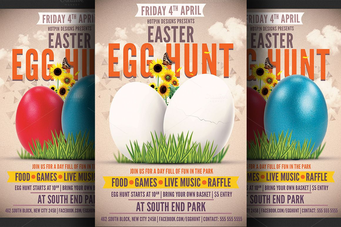 Easter Egg Hunt Flyer Template  Easter