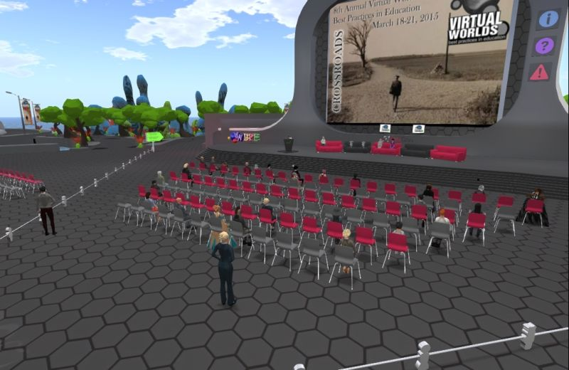 Virtual Worlds Best Practices in Education storytelling panel - Seanchi Library and panel discussing ways to create, tell, and preserve the stories using virtual worlds.  Location is the Rockliffe University main stage on the Avacon Grid in opensim.