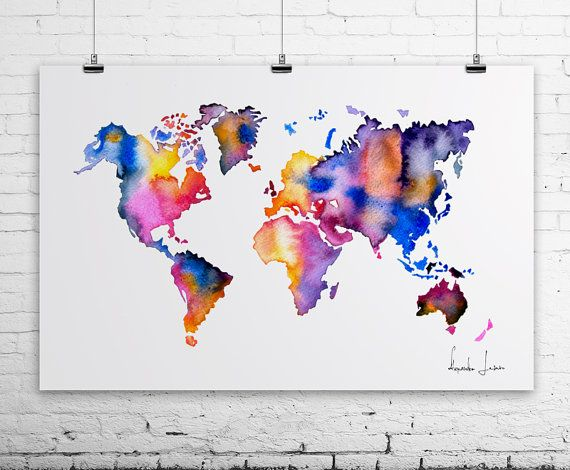 Map poster watercolor painting by watercolorprint on etsy 3000 world map watercolor print wall art giclee art prints and posters for sale artollo gumiabroncs Choice Image