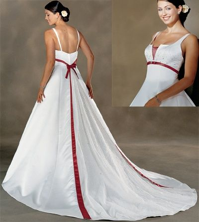 Wedding Dresses With Color Formal Red Accent Dress