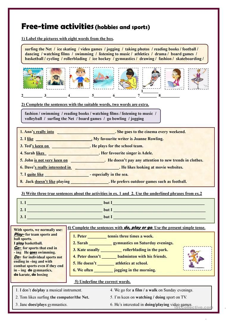 free time activities hobbies and sports exercises worksheet free esl printable worksheets. Black Bedroom Furniture Sets. Home Design Ideas