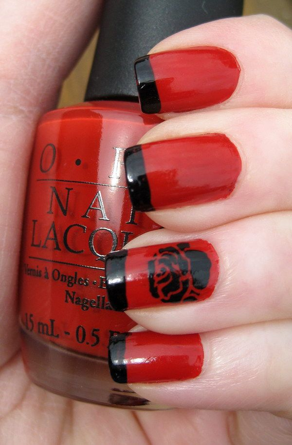 45+ Stylish Red and Black Nail Designs | Black nails, Black polish ...