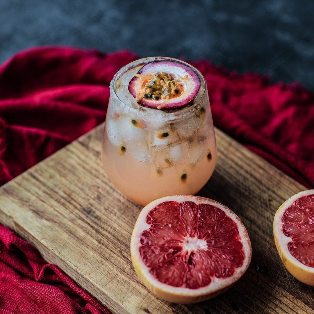 Passion Fruit Mezcal Paloma In 2020 Spring Recipes Passion Fruit Cocktail Desserts