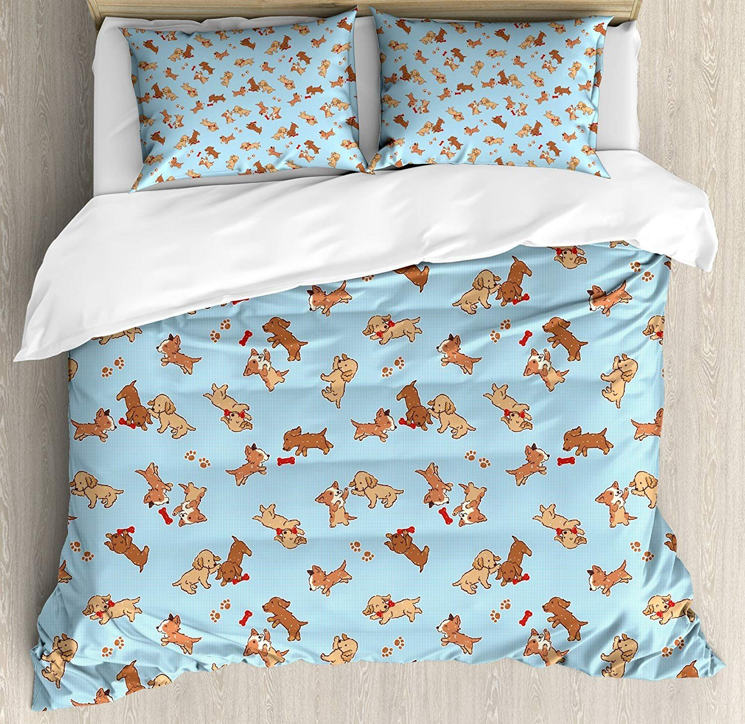 Brushstrokes Watercolors Print Kids Quilted Bedspread /& Pillow Shams Set