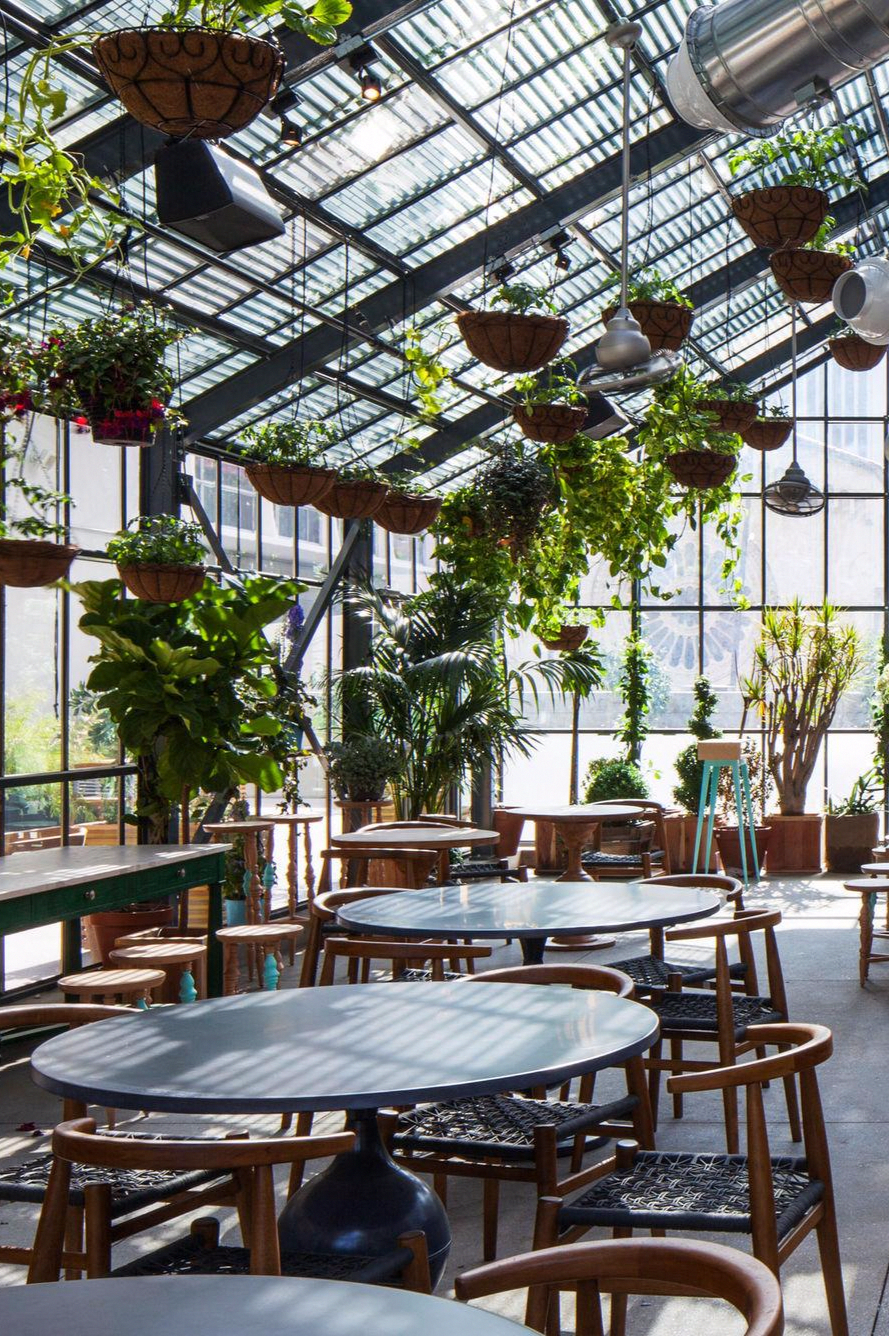 The LINE Hotel (Los Angeles, CA Restaurant patio, Glass
