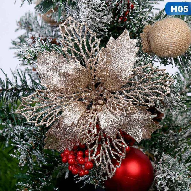 10Pcs Christmas Glitter Snowflakes Xmas Tree Hanging Ornament Home Party Decor