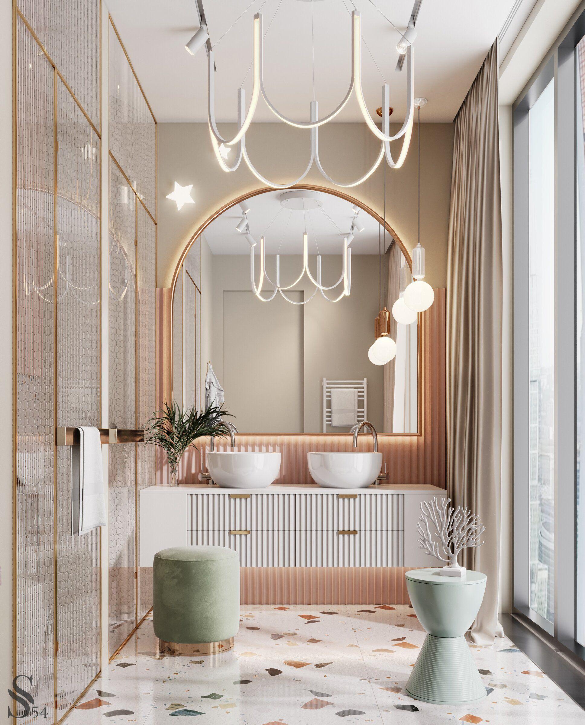 Правильное освещение - залог вашей красоты. Разные уровни света позволят вам быстрее собираться по утрам и расслабиться вечером. Практичность превыше всего. Вся мебель и сантехника должны быть гармонично и функционально расставлены. Читайте статью в нашем блоге. #studia54 #interiordesign #designideas #inspiration #art #decor #bathroom