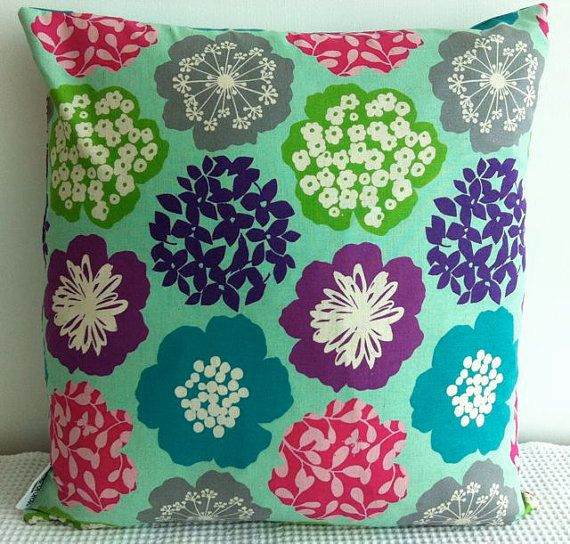 Japanese fabric cushion cover in aqua background by miaandstitch, $35.00