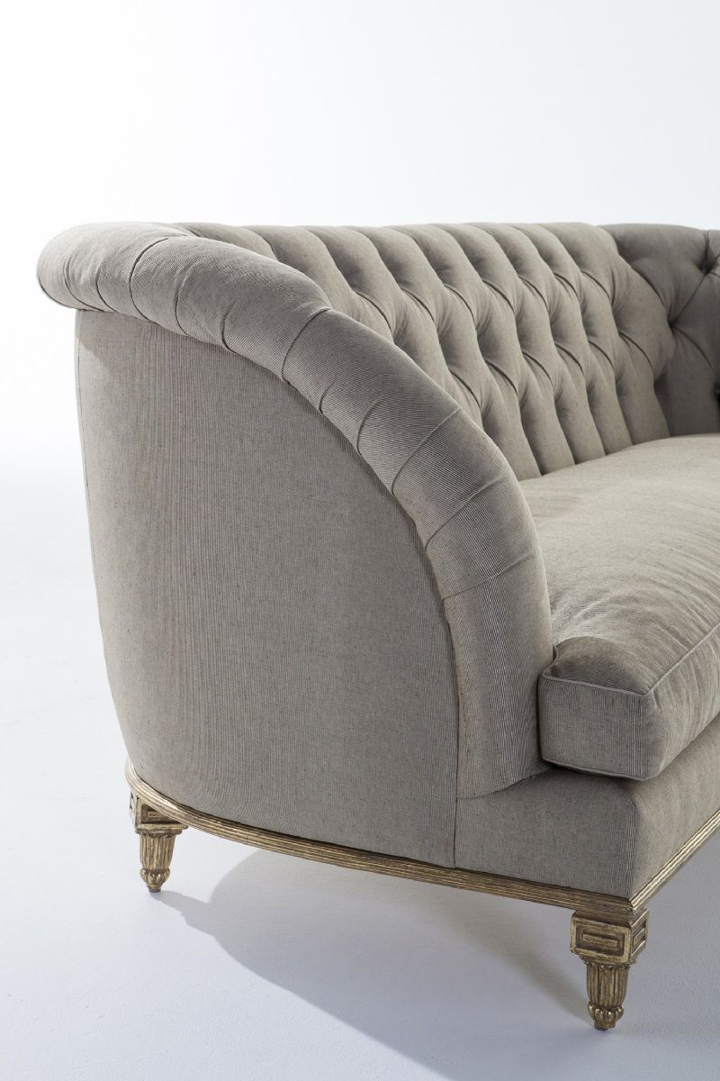 Marchese Sofa By Ebanista @ebanistacollect. Tufted Tight Back Sofa With  Single Bench Seat Cushion. Hand Carved Reeded Base And Six Decorative Legs  In ...