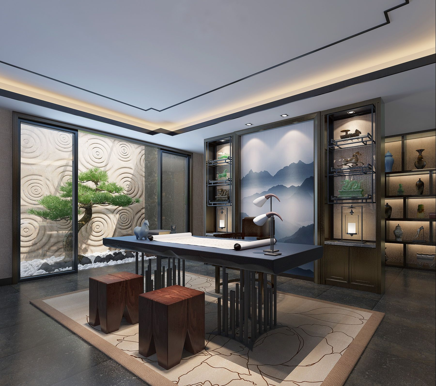 24 Luxury And Modern Home Office Designs: 新中式收藏室collection Room