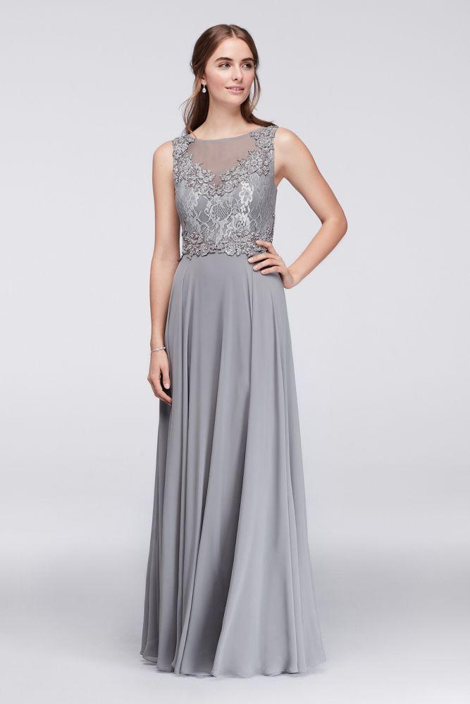 b20905f8dcd Illusion Lace and Chiffon Long Bridesmaid Dress - Zinc
