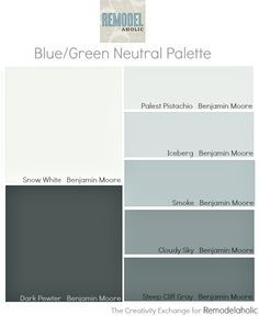 Easy Paint Color Strategy For The Whole Home Blue Green Neutral Palette Bm Palest Pistachio Iceberg Smoke Cloudy Sky Snow White