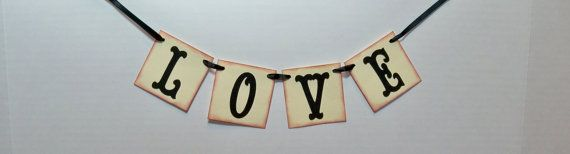 mini LOVE banner wedding garland by BethsBannerBoutique on Etsy, $7.00
