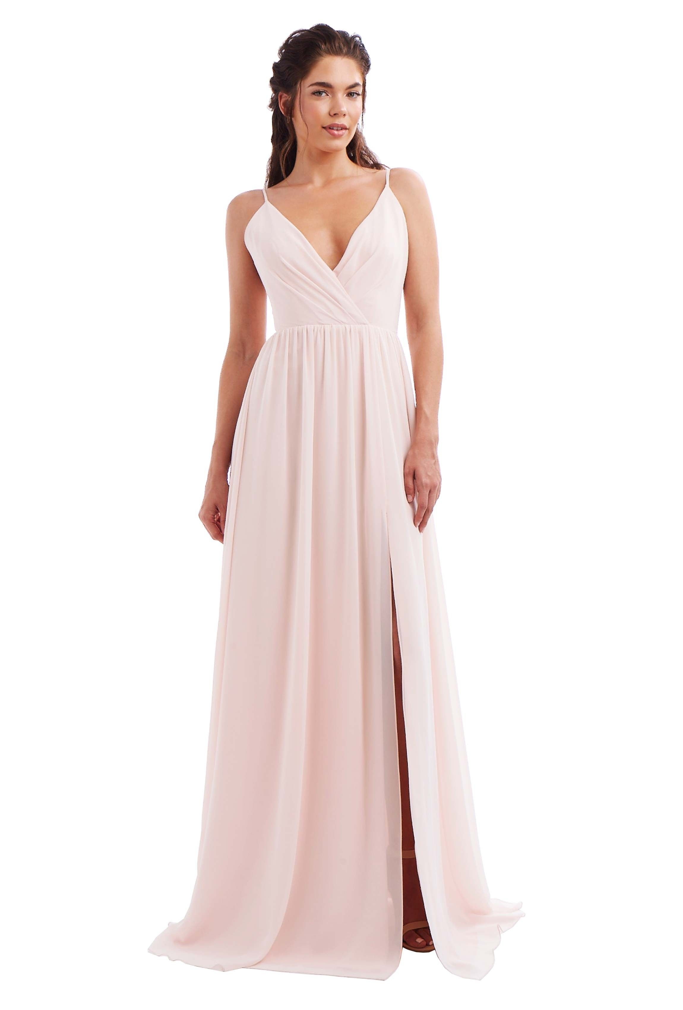 Monique lhuillier kelsea chiffon bridesmaid dresses wedding and a floor length v neck chiffon bridesmaid dress with cutout slit in eight colors ombrellifo Image collections