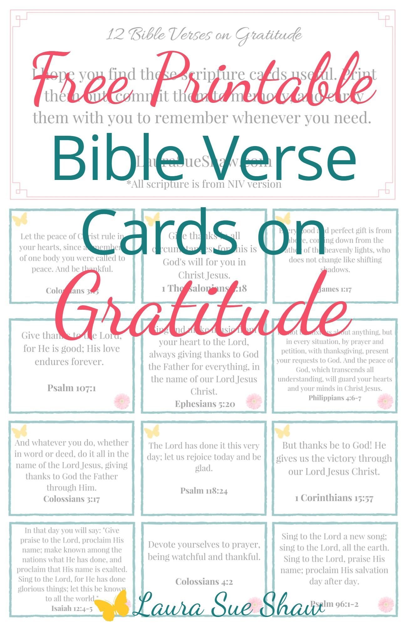 Free Printable Bible Verse Cards On Gratitude