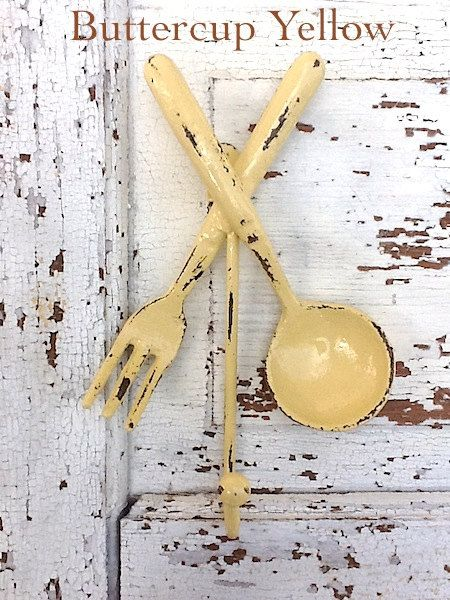 Buttercup Yellow Wall Hook - Bright Cast Iron - Metal Wall Decor ...