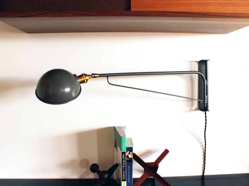 Industrial wall lamp 30 grey powder coat by onefortythree