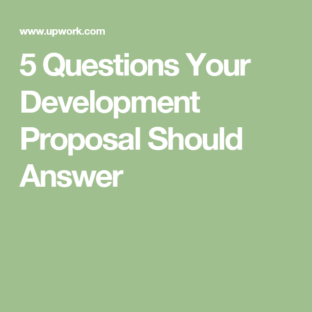 Questions Your Development Proposal Should Answer  Code