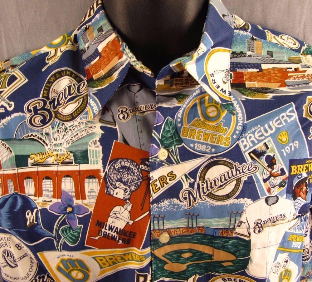 ad35d7137 Milwaukee Brewers Reyn Spooner S Hawaiian Shirt Small MLB Baseball Retro  Print #ReynSpooner
