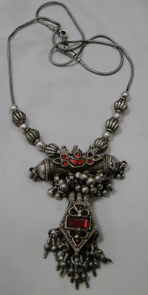 ethnic tribal vintage old silver beads necklace by TRIBALEXPORT, $499.00