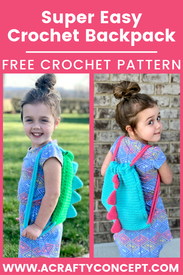 Easy Crochet Dinosaur Backpack- Simple Free Pattern With Video #crochetdinosaurpatterns