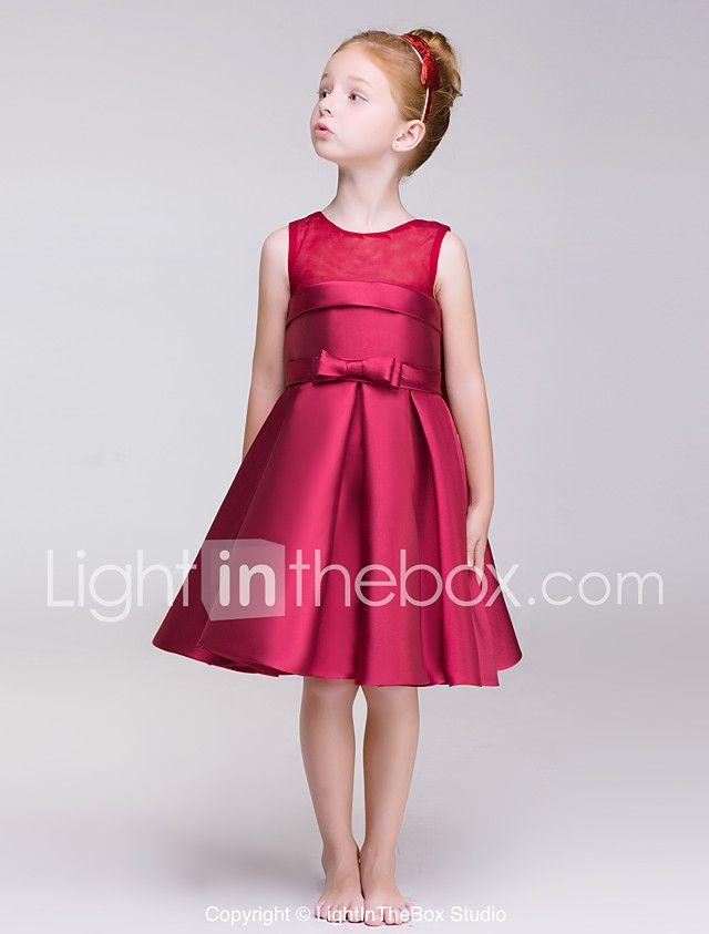 2102594c1 Corte en A Hasta la Rodilla Vestido de Niña Florista - Poliéster Joya con  Lazo(