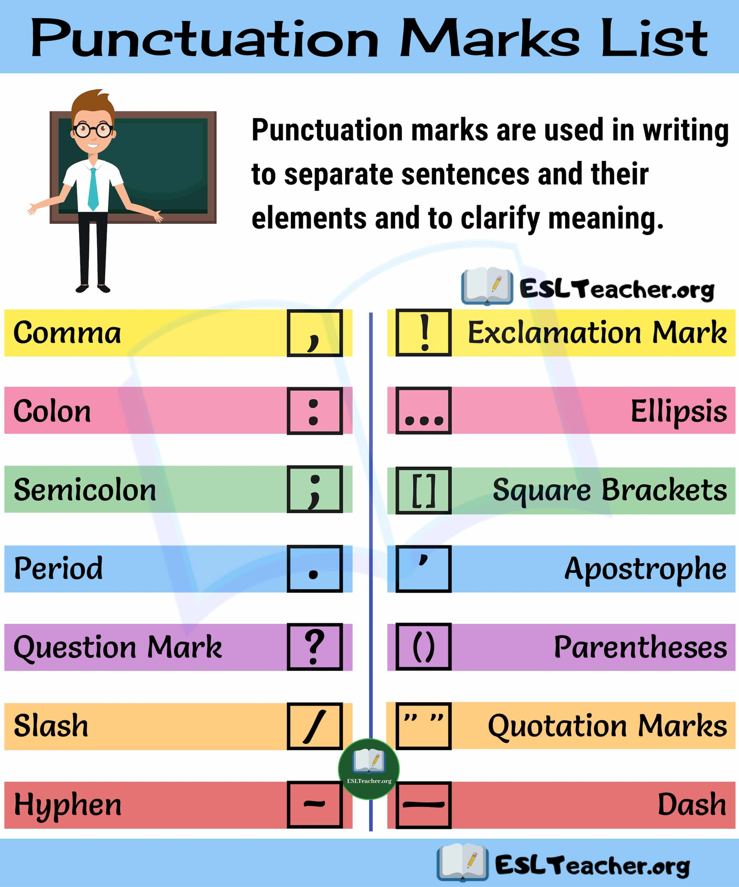Punctuation Marks List 14 Punctuation Marks You Need To