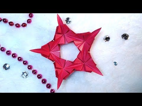 Photo of Luxury origami 5 pointed star from triangles. Easy and rich paper star and snowflake