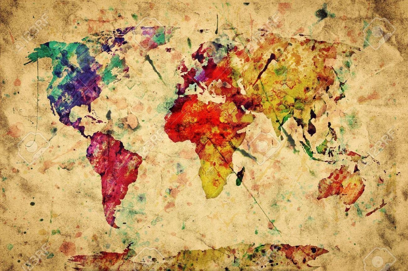 Stock Photo Arte Mapamundi Mapa Del Mundo Mapa Mural Del Mundo