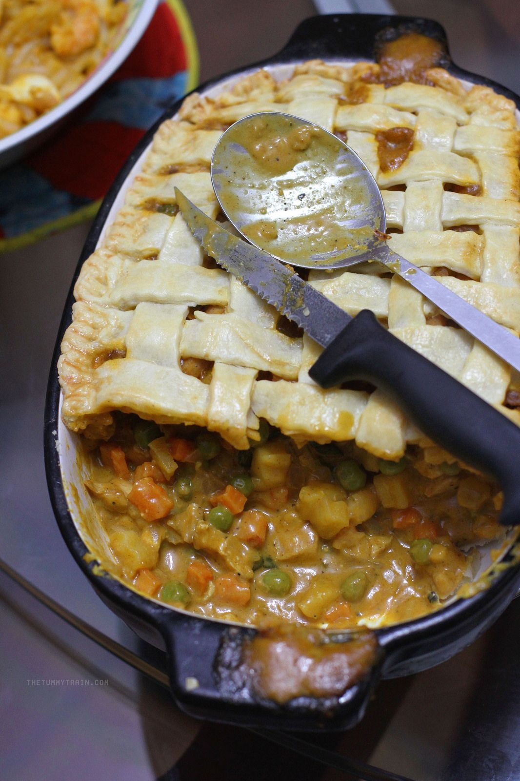 Redefining the classic chicken pot pie by using chicken curry instead. Made more perfect with a lattice top, served inside a KitchenAid ceramic casserole!