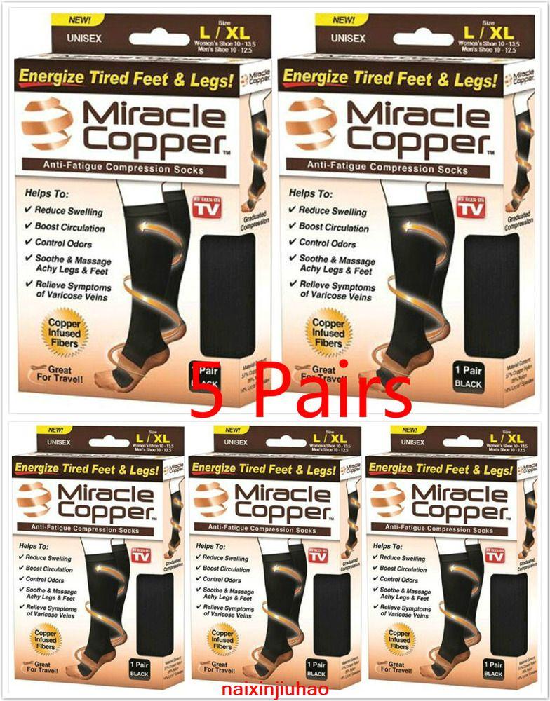 New 3 Pairs Miracle Copper Socks Anti Fatigue Compression Black UNISEX no box