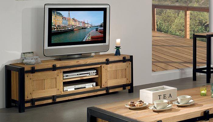 Meuble Tv En Pin Et Metal Meuble Tv Mobilier De Salon Meuble