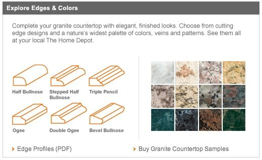 Granite Countertop Edge Options Home Depot Color Selections