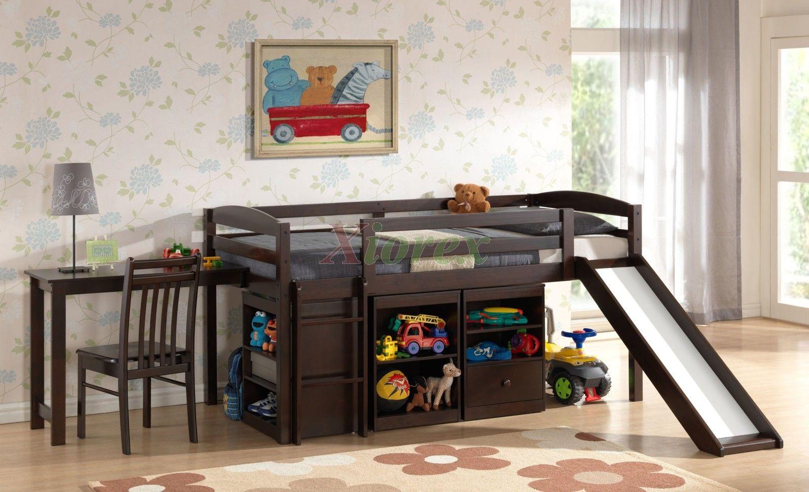 Bunk beds with slide for teenage girls - Mulberry Boys Girls Cabin Loft Beds With Slide Desk Storage