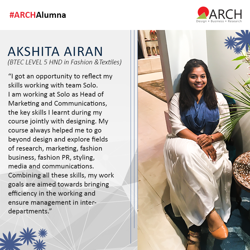 Akshita Airan Is An Alumna From Btec Level 5 Hnd In Fashion Textiles She Says That She Used The Skills And De College Design Business Design Textiles Fashion