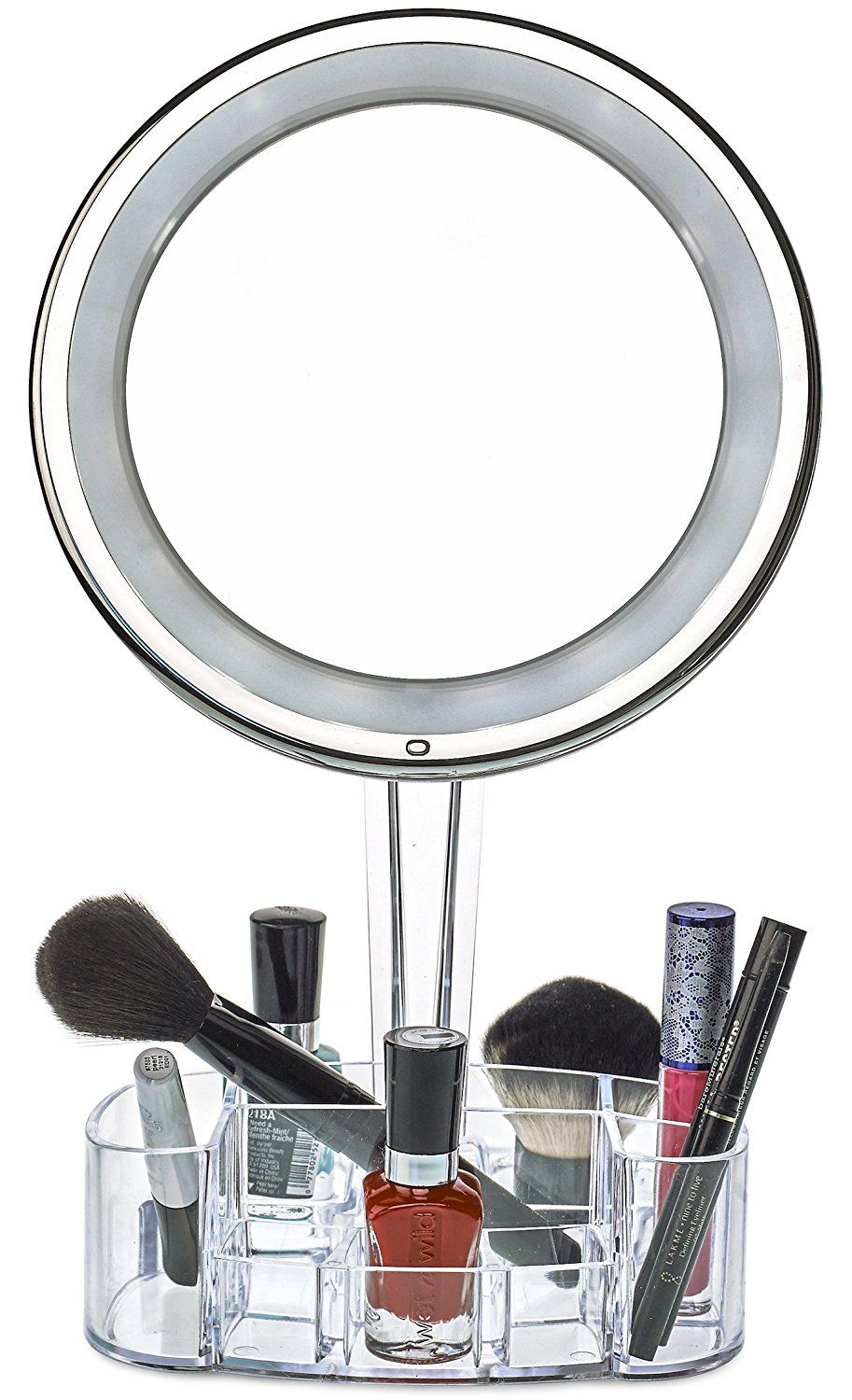 Magnifying Lighted Makeup Mirror | 7X Round LED Portable Illuminated ...