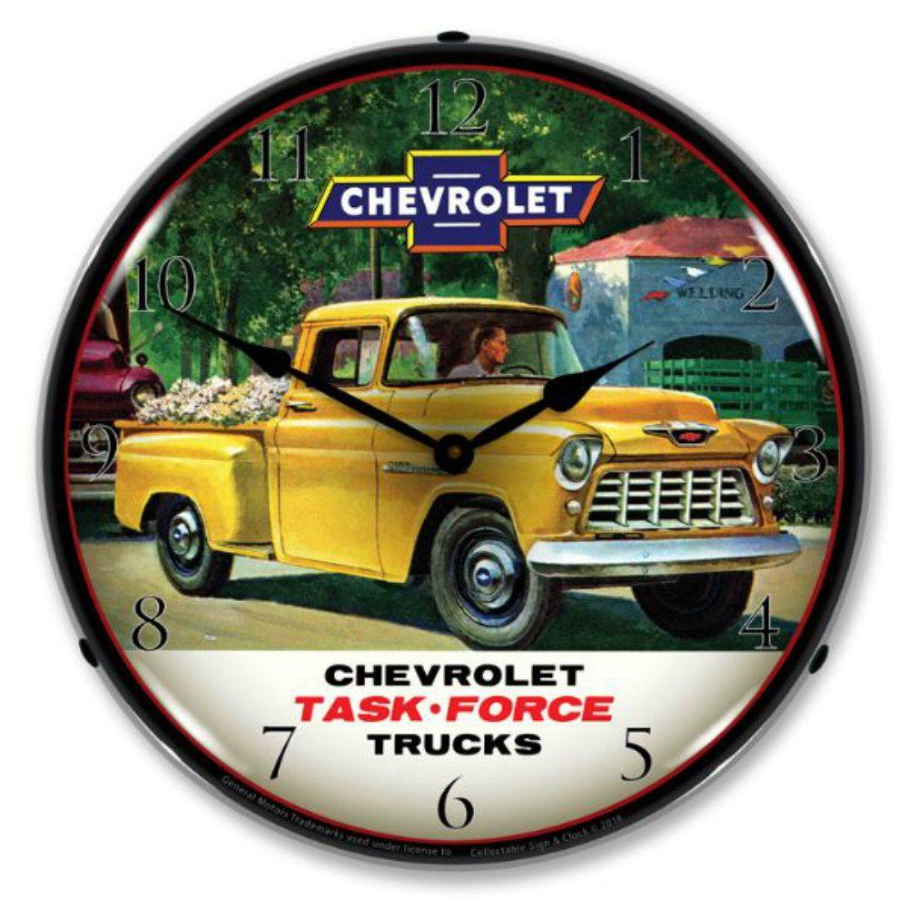 Trucks 1955 Yellow Pickup Chevrolet Wall Clock 14 In 2020 Chevrolet Trucks Wall Clock Light 1955 Chevrolet