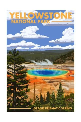 National Parks Nature POSTER Hot Springs at Yellowstone