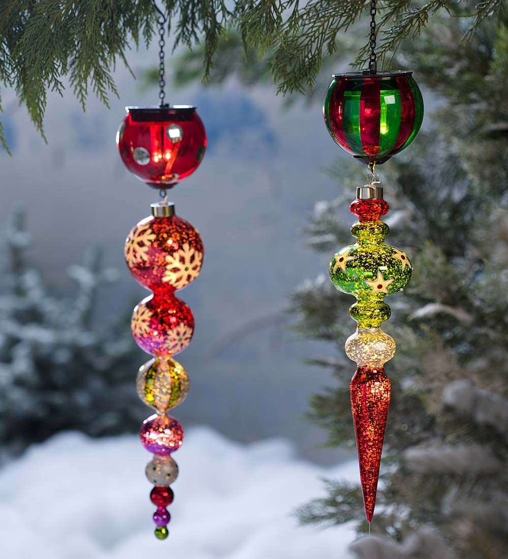 Solar Finial Holiday Ornament in Glass | Outdoor Holiday ...