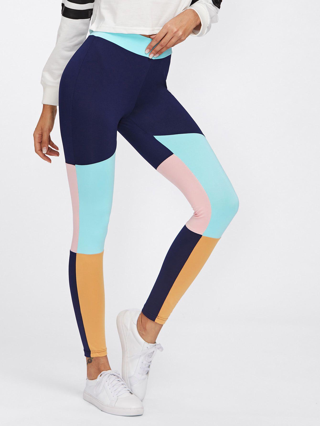 fcd68982612fb6 Cut And Sew Color Block Leggings   MakeMeChic.COM in 2019   Make Me ...
