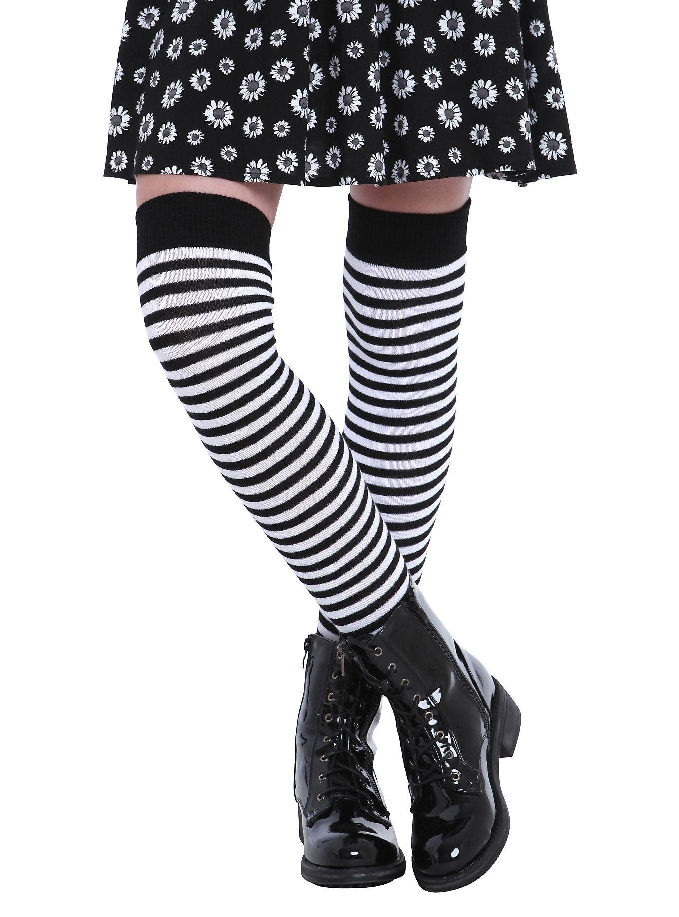 LOVEsick Black & White Striped OverTheKnee Socks Over