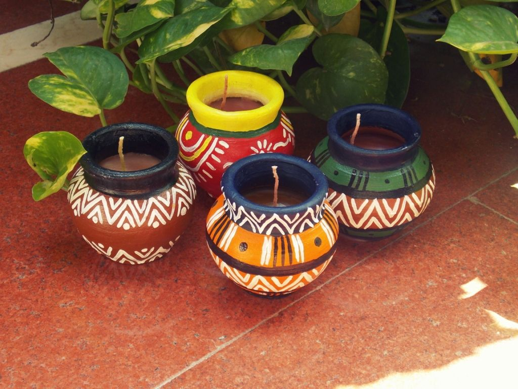 Matki candles handmade candles in the traditional indian for Art and craft for diwali decoration