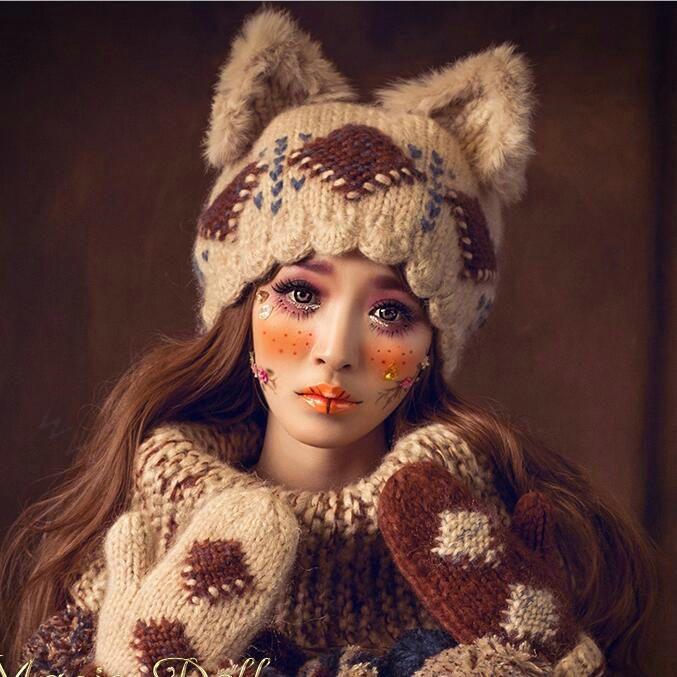 $ 47.58 Retro Rabbit Fur Katzenohren Strickmützen aus Wolle – Beige   – Apparel Accessories