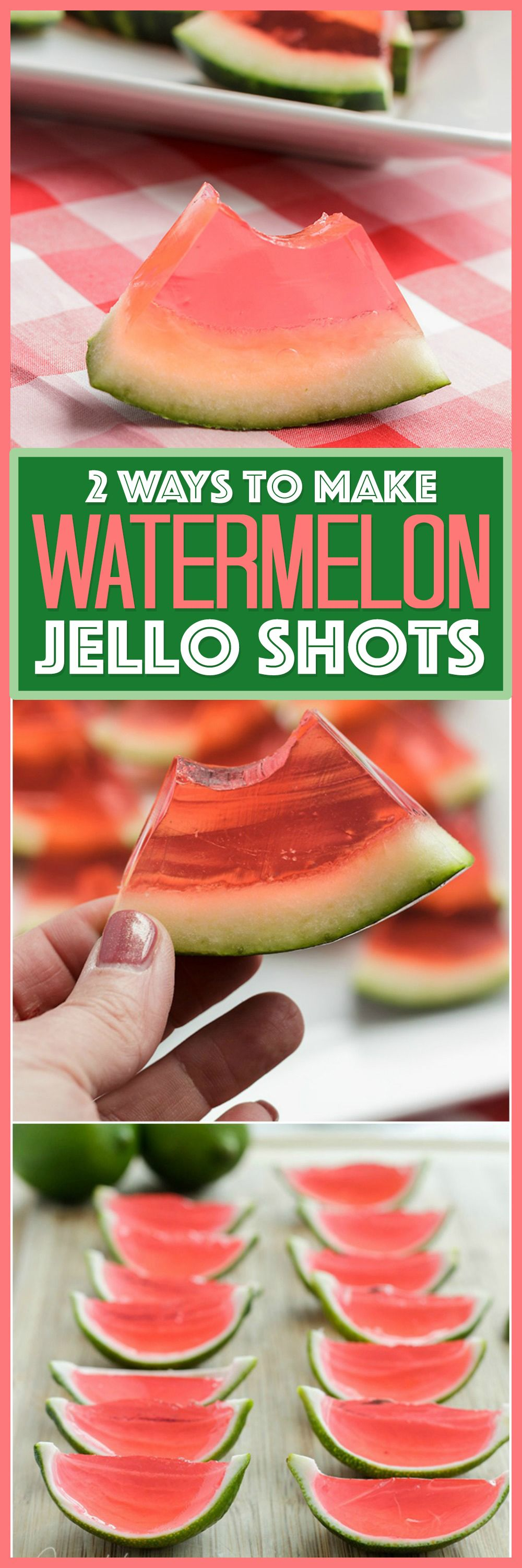 These Watermelon Jello Shots are a party favorite! Jello shots are perfect to bring to BBQ's, potlucks, camping or any type of gathering. (Favorite Desserts Potlucks) #jelloshots